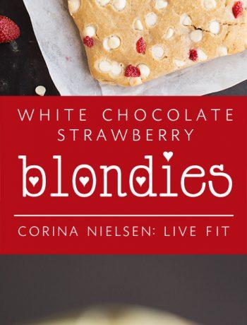 white chocolate strawberry blondies