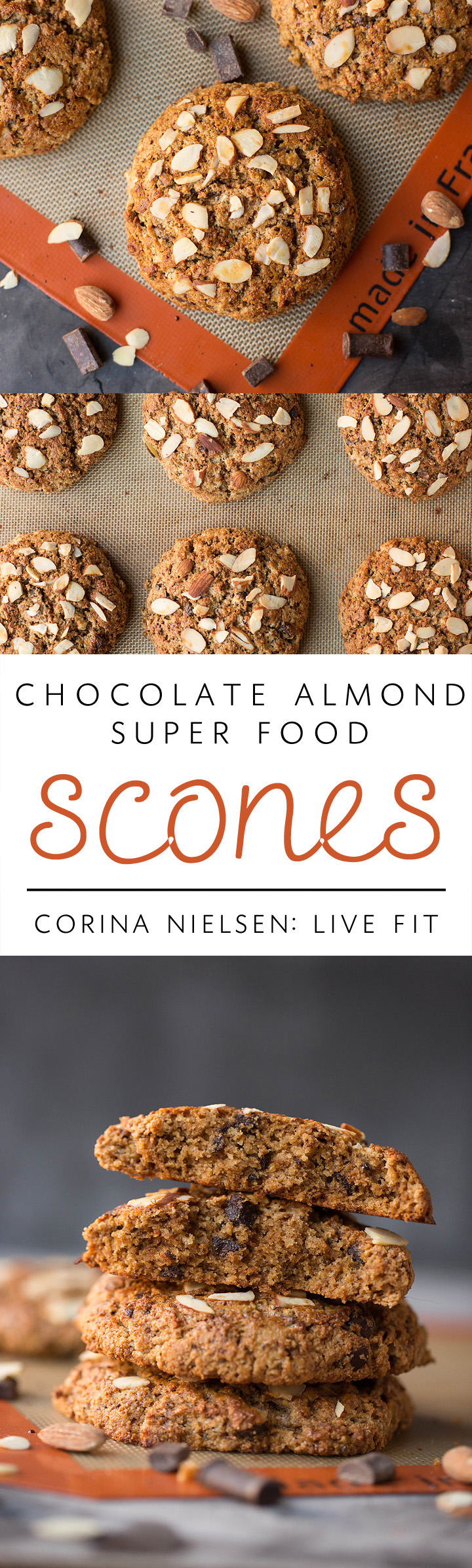 chocolate almond super food scones