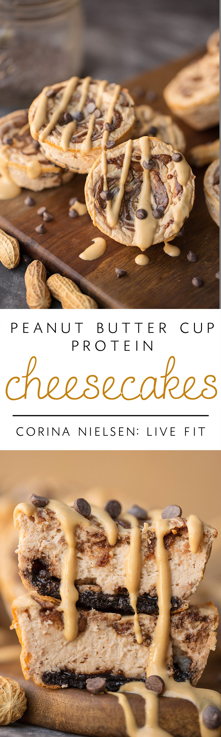 Peanut Butter Cup Swirl Protein Cheesecakes