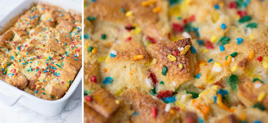 Cake Batter Protein Bread Pudding